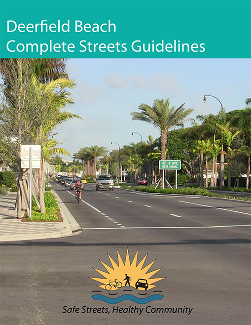 DFB Complete Streets Guidelines Cover - bicyclist sharing the road with traffic