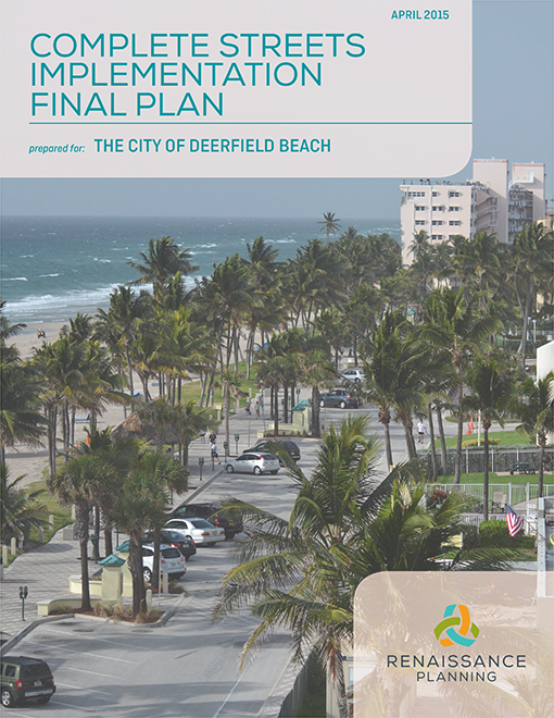 Complete Streets Implementation Plan Cover - aerial shot of Ocean Way along beach Opens in new window