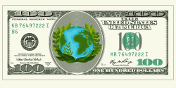 Hundred dollar bill with the earth in the center
