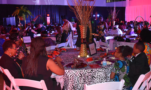 Black Heritage Banquet interior setup with decorations
